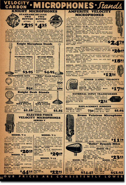 picture of microphones for sale in the 1937 Allied Radio catalog