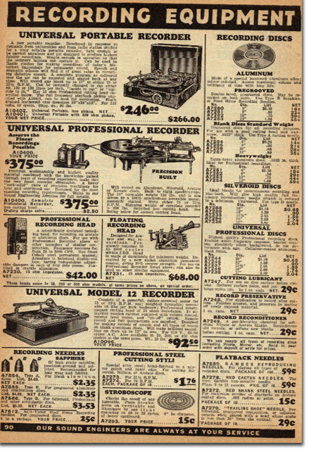 picture of recording devices for sale in the 1937 Allied Radio catalog