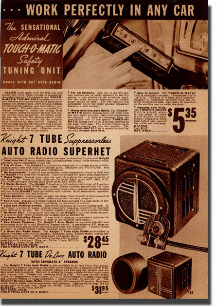 picture of page from the 1938 Allied Radio catalog showing push botton car radio switch