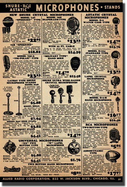 picture of page from the 1938 Allied Radio catalog showing microphones that were available