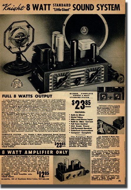picture of page from the 1938 Allied Radio catalog showing sound systems