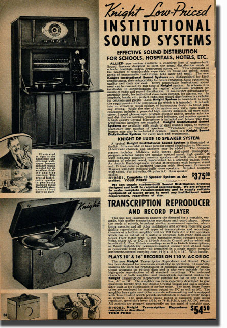 picture of page from the 1938 Allied Radio catalog showing sound systems that were available for schools and institutions