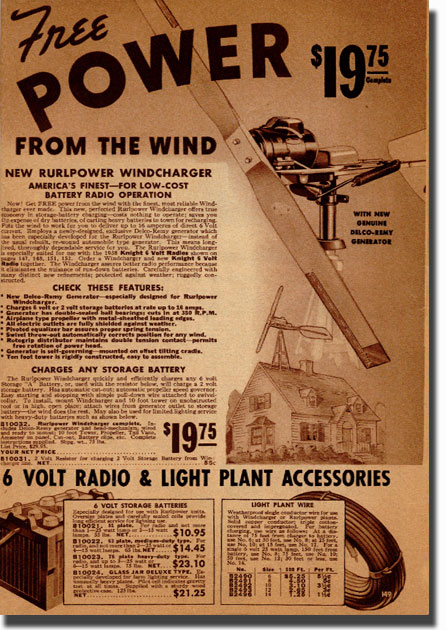 picture of page from the 1938 Allied Radio catalog showing a unique wind driven generator