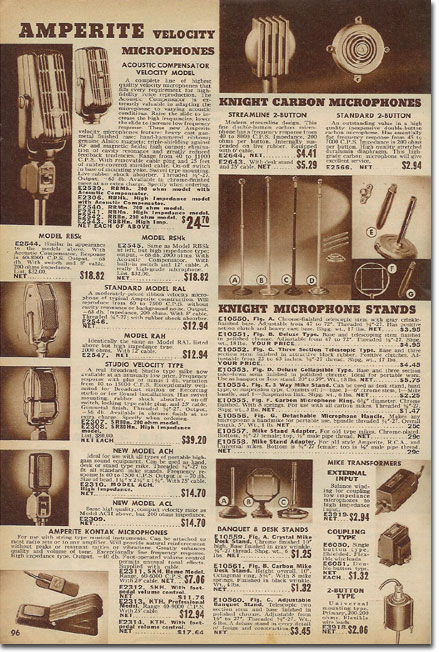 picture of microphones in the 1939 Allied Radio catalog