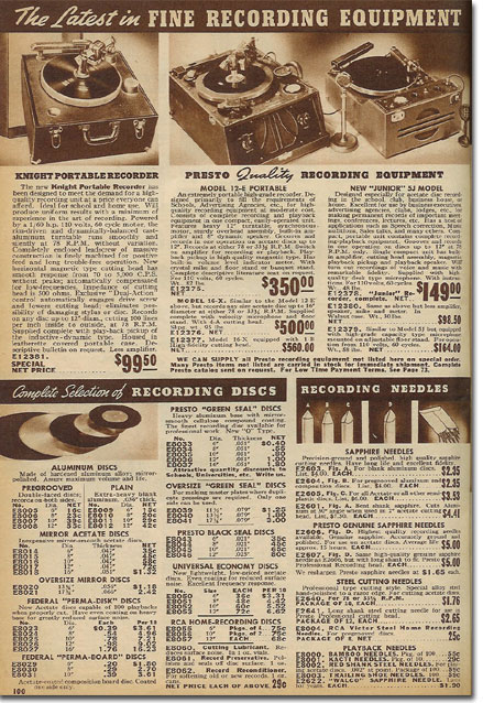 1938 catalog ad for Presto Disc recorders in the Museum of Magnetic Sound Recording