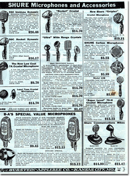 picture of microphones in the 1940 Burstein Applebee Radio catalog