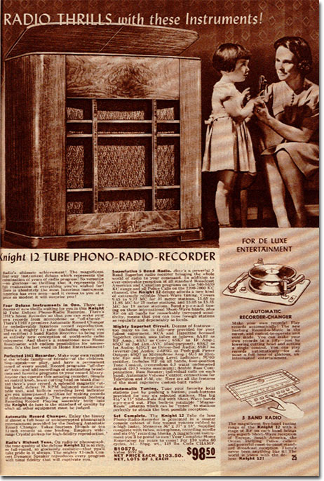 picture of page from 1941 Allied Radio catalog. In selling duplicate catalogs on ebay, we were contacted by the lady who is the little girl in the above ad. She is looking for more copies of this catalog to give to her children.