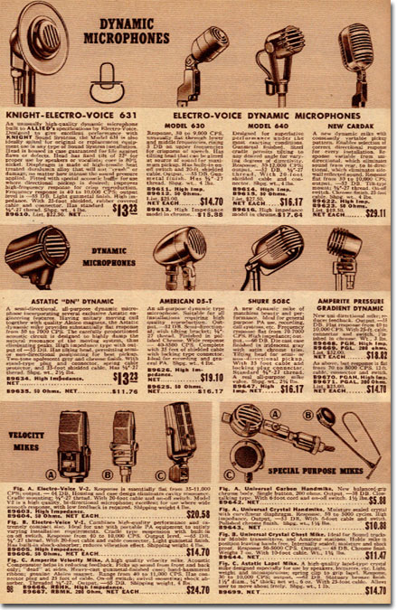 picture of mikes for sale in 1941 Allied catalog