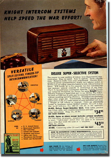 picture of back cover of 1943 Allied radio catalog