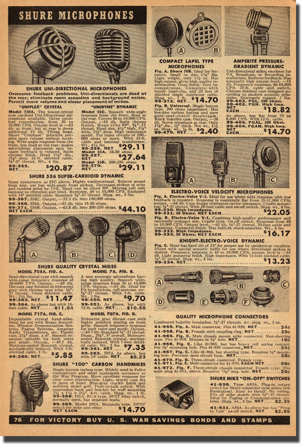 picture of microphones from 1943 Allied radio catalog