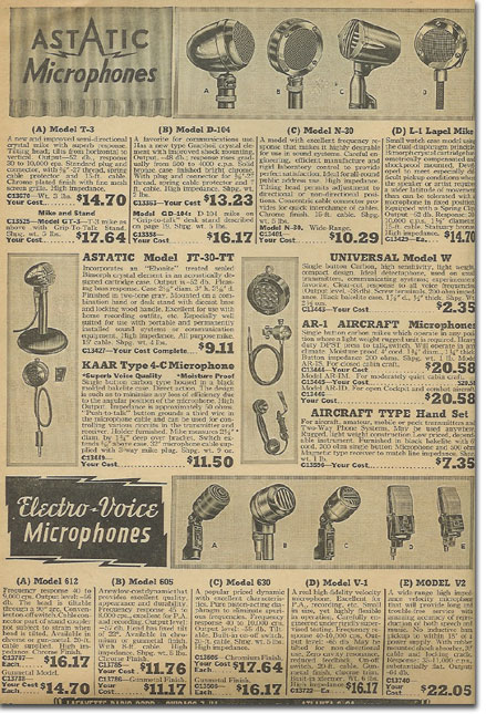 picture of microphones in the 1944 Lafayette Radio catalog