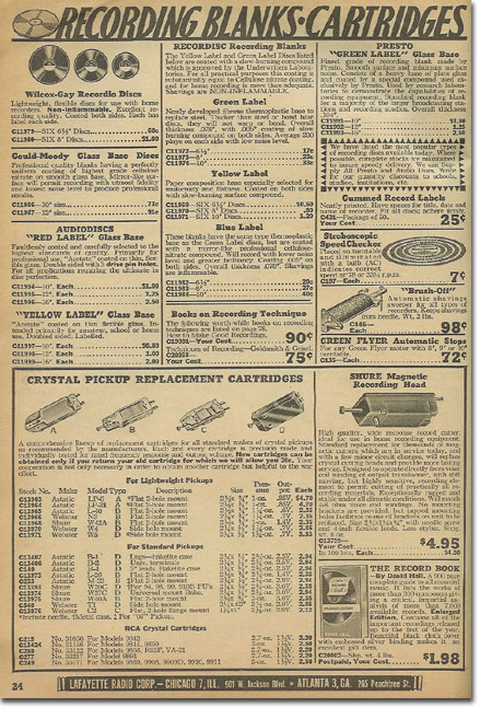 picture of recording items in the 1944 Lafayette Radio catalog