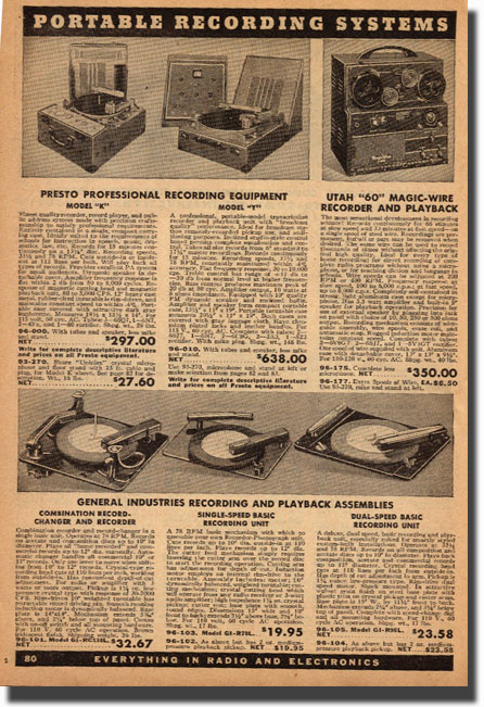 picture of page from the 1946 Allied Radio catalog showing a selection of tape recorders