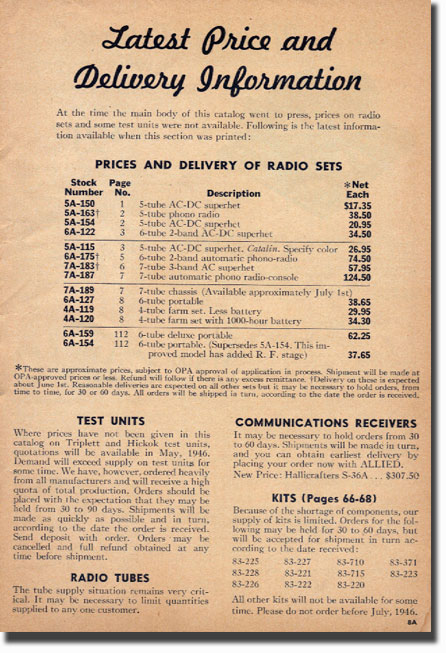 picture of 1946 Allied Radio catalog listing prices for recording items. The pricing is interesting as there is a disclaimer regarding the availability of items, such as radio tubes after WWII.