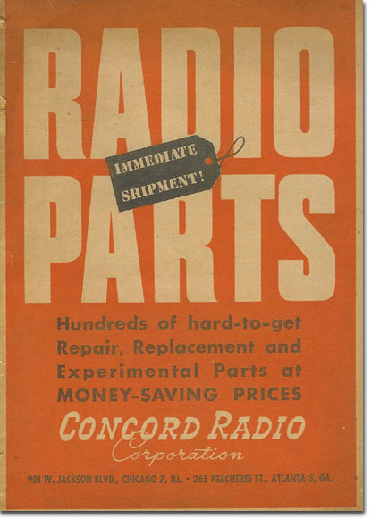 picture of cover of 1947 Concrod Radio catalog supplement