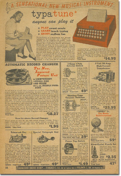 picture of items in 1947 Concrod Radio catalog supplement