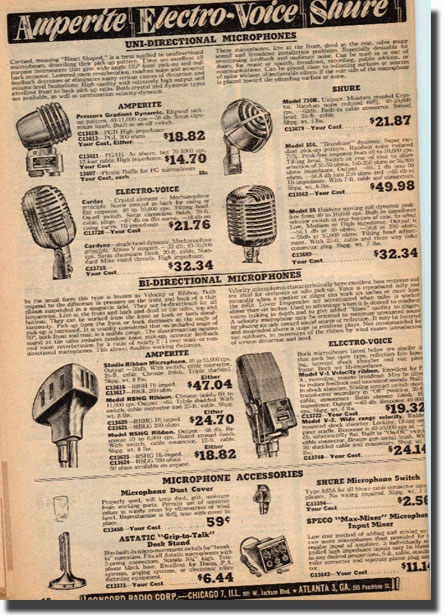 picture of microphones available in the 1947 Concord radio catalog