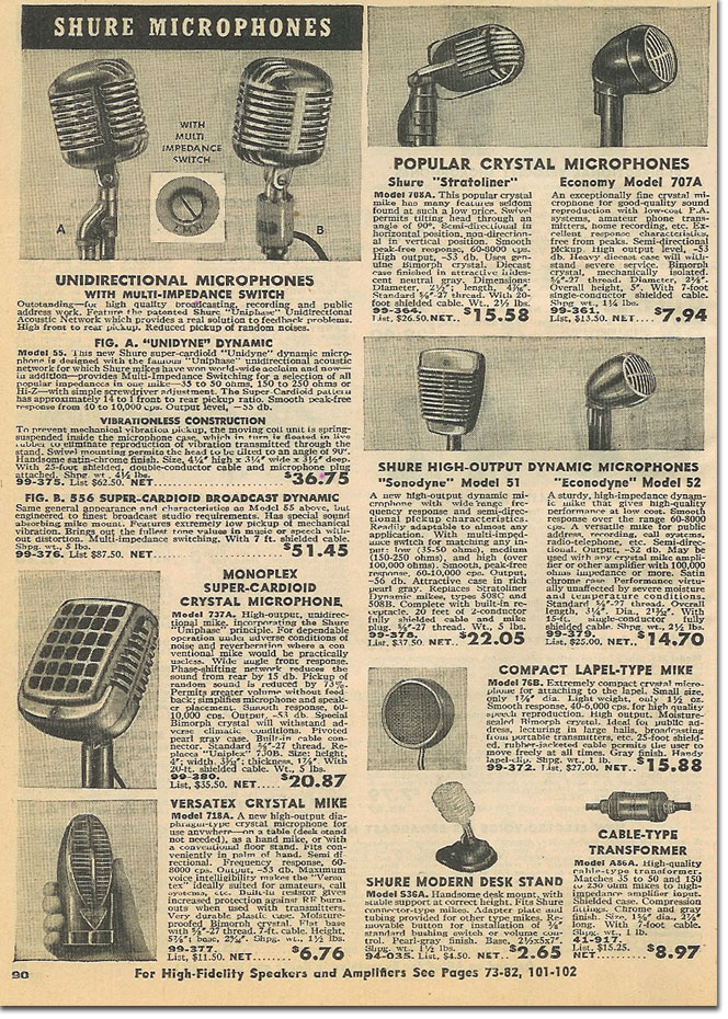 picture of microphones in the 1948 Allied radio catalog