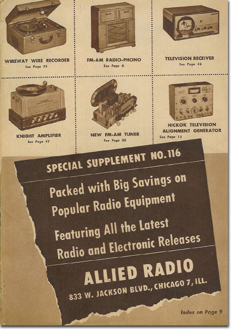 picture of cover of 1948 Allied Radio catalog