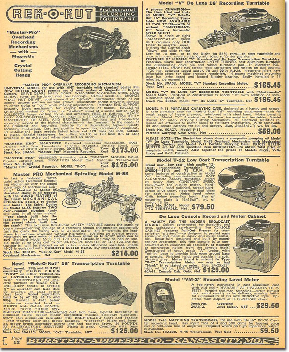 picture of tape recorders in the 1948 Burstein Applebee radio catalog