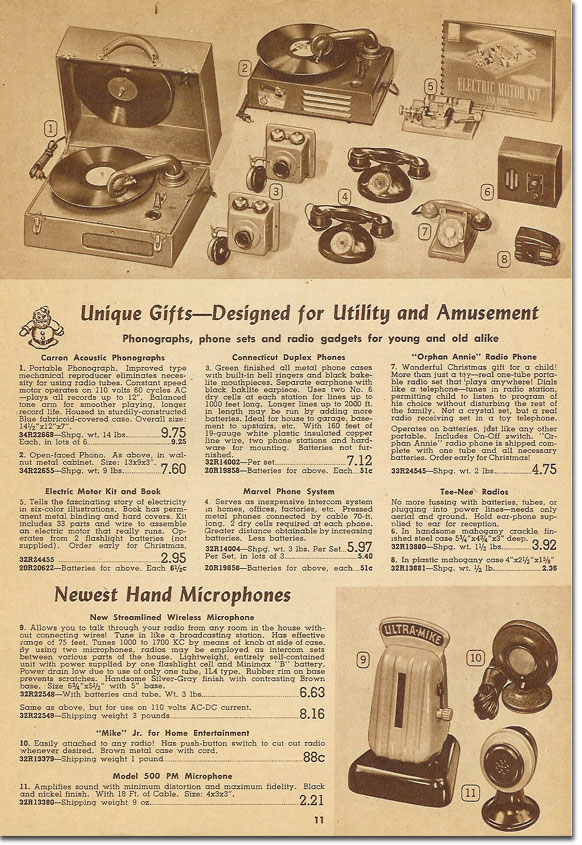picture of items in the 1948 Lafayette holiday catalog
