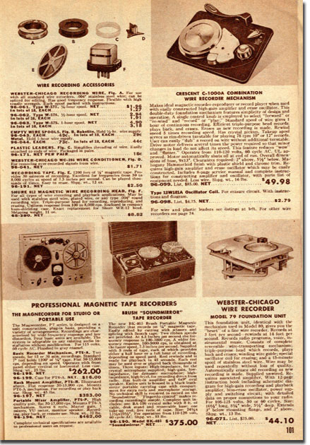 picture of page of tape recorders from 1949 Allied Radio catalog