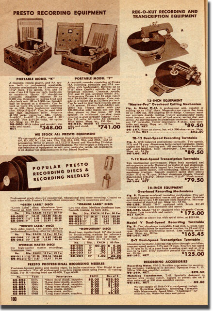 picture of page from 1949 Allied Radio catalog