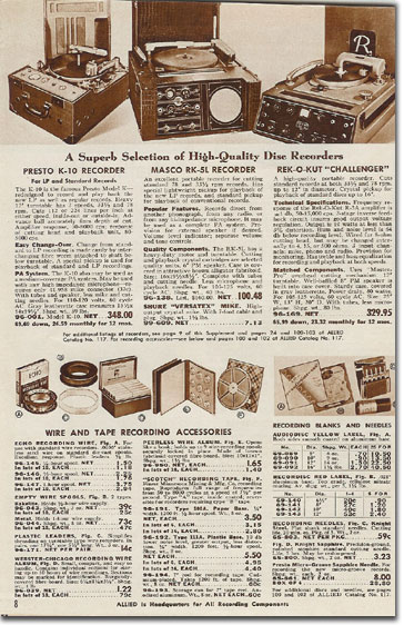 picture of Recording equipment in 1949 Allied Radio catalog