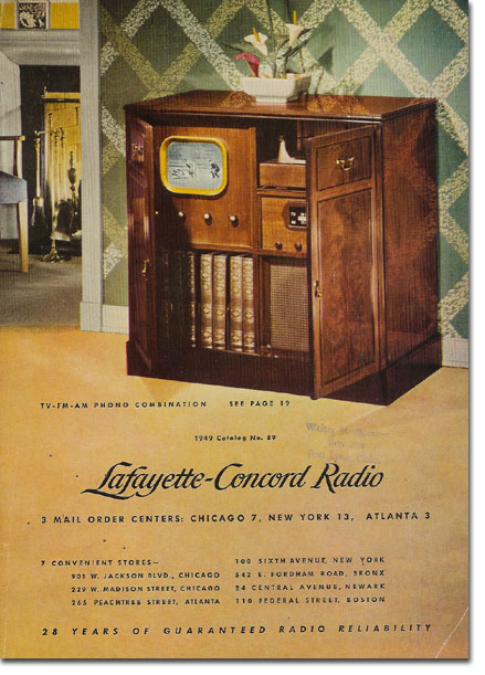 picture of the 1949 Lafayette Radio catalog cover
