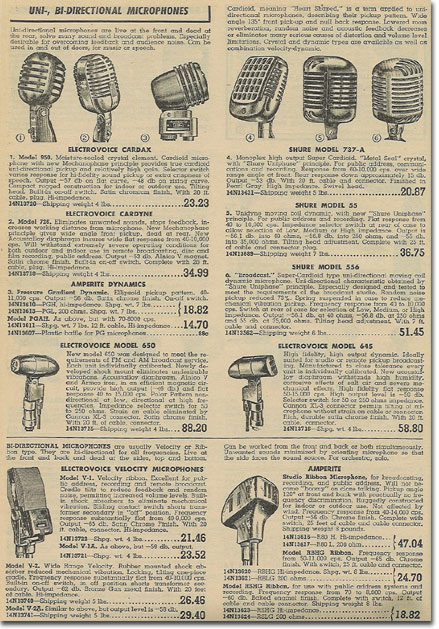 picture of microphones in the 1949 Lafayette Radio catalog