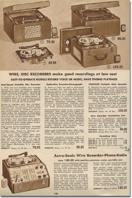 picture of tape recorders in the 1949 Lafayette Radio catalog
