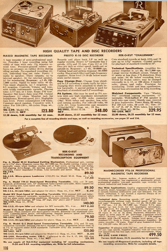 Recorders for sale in 1950 Allied catalog in the Reel2ReelTexas vintage recording collection