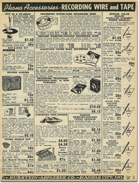 picture of reel tape recorder assessories in the 1950 Burstein Applebee Radio catalog