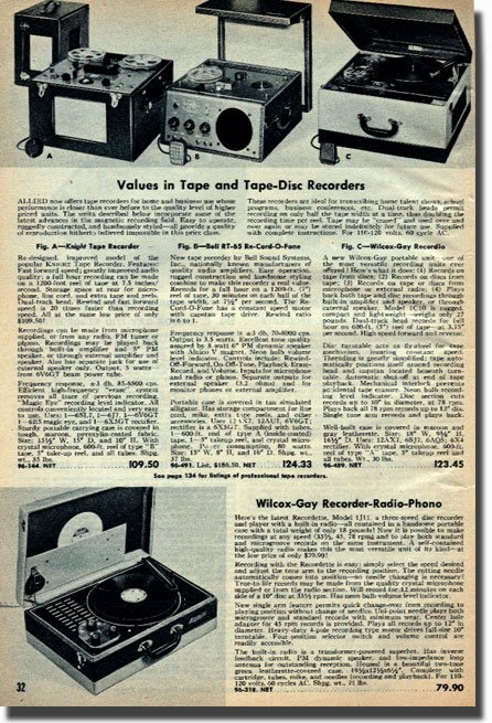 picture of tape recorders for sale in the 1951 Allied Radio catalog