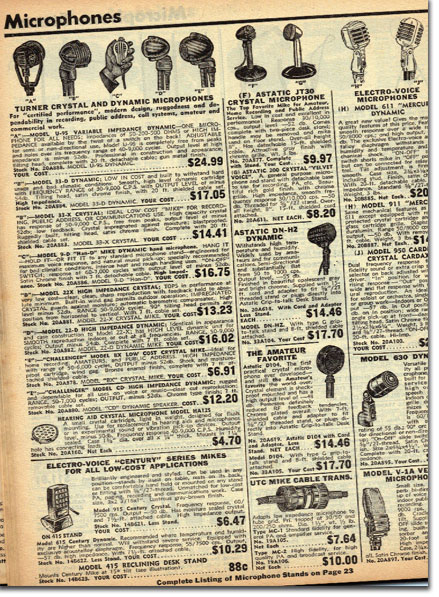 picture of microphones in 1951 Burstein Applebee Radio catalog
