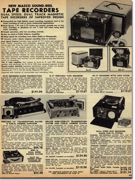 picture of recorders in 1951 Burstein Applebee Radio catalog
