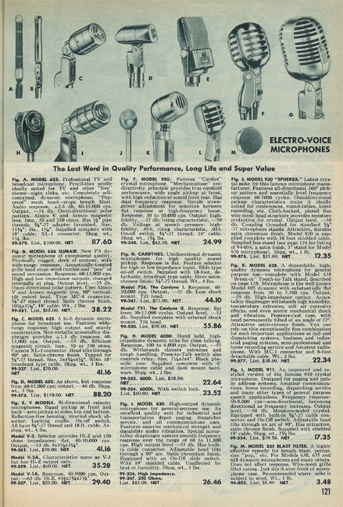 picture of microphones for sale in the 1951 Allied Radio catalog