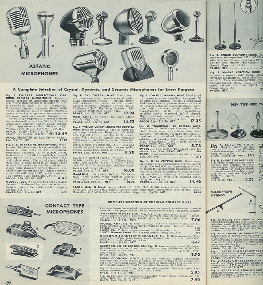picture of microphones in the 1952 Allied Radio catalog