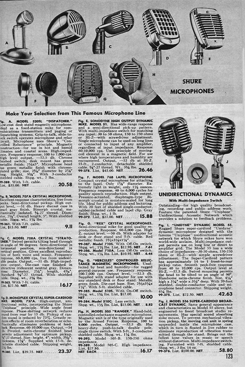 picture of microphones for sale in the 1952 Allied Radio catalog