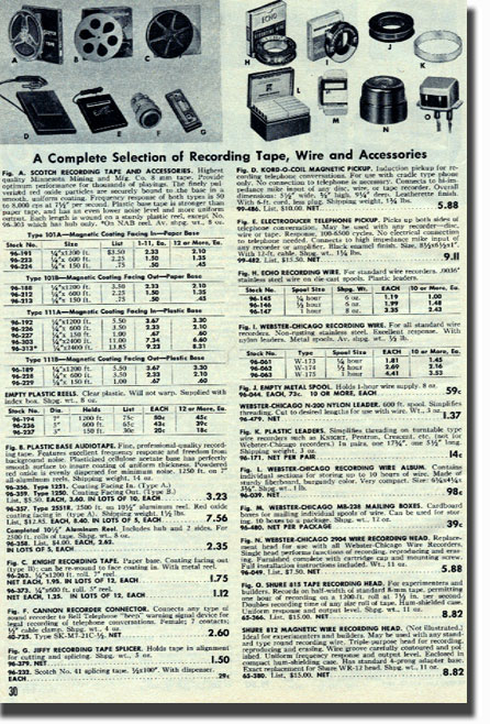 picture of tape recorder assessories for sale in the 1952 Allied Radio catalog