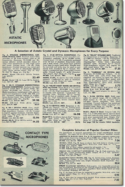 picture of microphones in the 1953 Allied Radio catalog