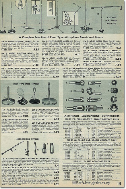 picture of microphone stands in the 1953 Allied Radio catalog