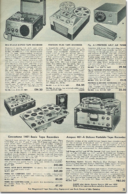 picture of tape recorders in the 1953 Allied Radio catalog
