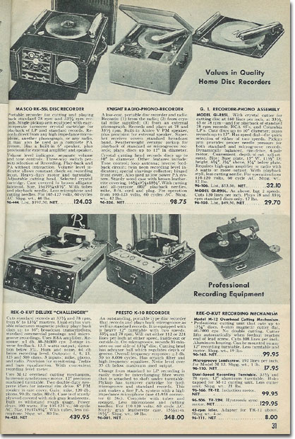 picture of phono record recorders in the 1953 Allied Radio catalog