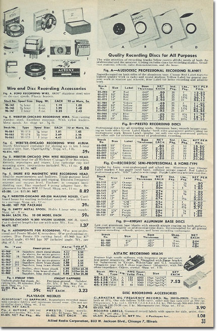 picture of tape recorder assessories in the 1953 Allied Radio catalog