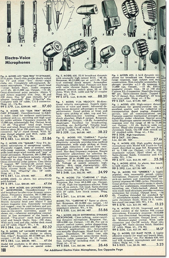 picture of microphones available in the 1954 Allied Radio catalog