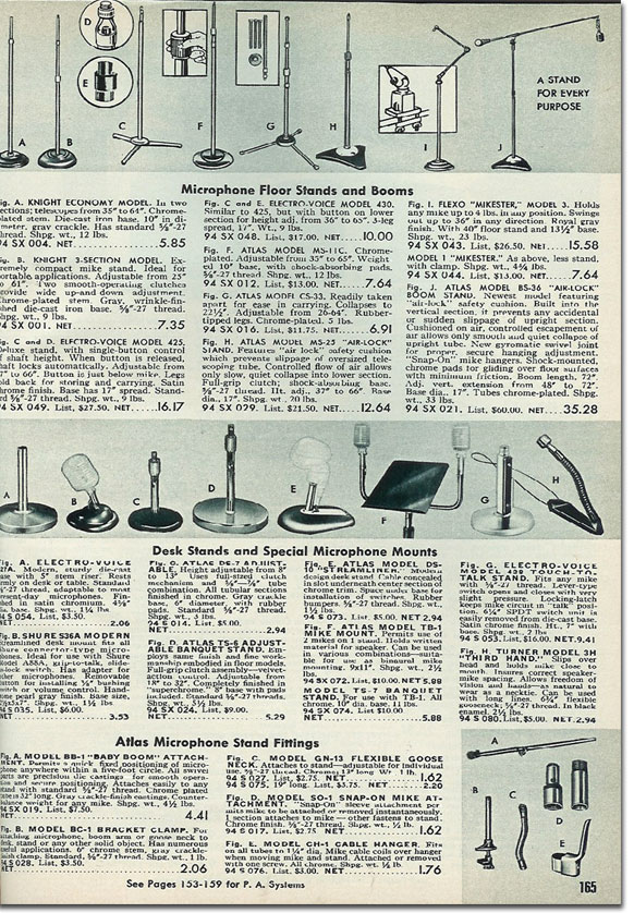 picture of microphone accessories available in the 1954 Allied Radio catalog