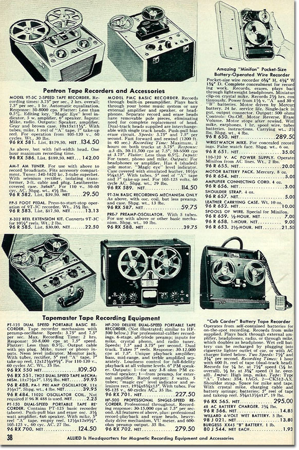 picture of tape recorders available in the 1954 Allied Radio catalog
