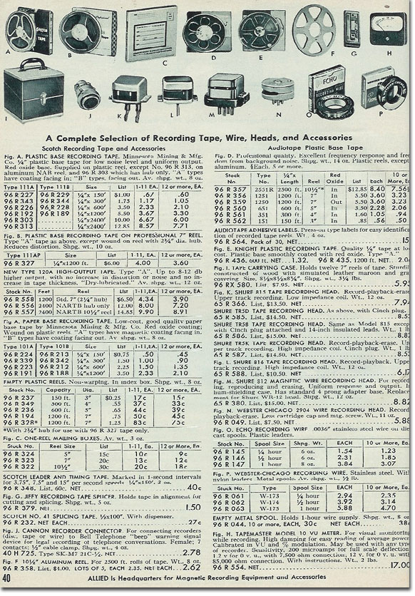 picture of tape recordering accessories available in the 1954 Allied Radio catalog