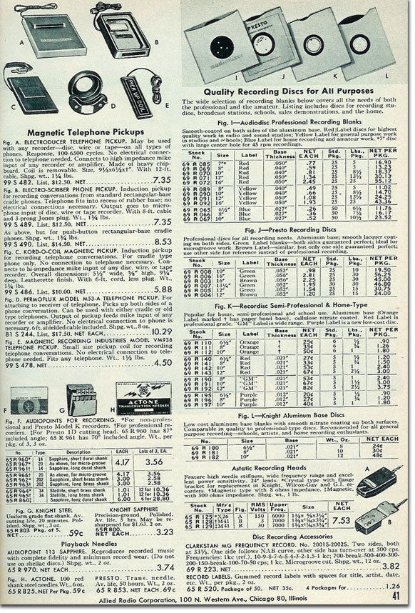 picture of  recording accessoriess available in the 1954 Allied Radio catalog